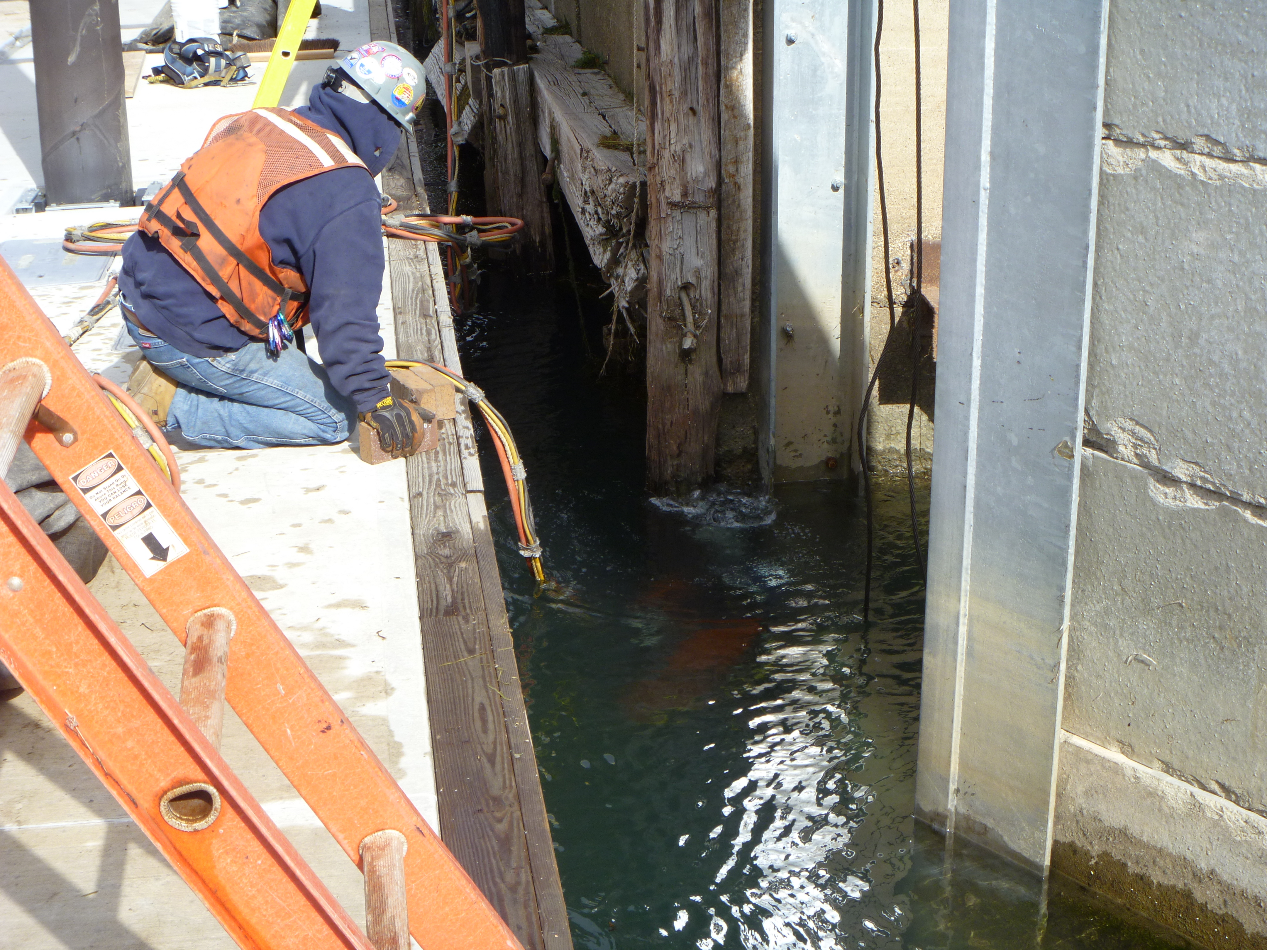 diver working on bulkhead wall 2